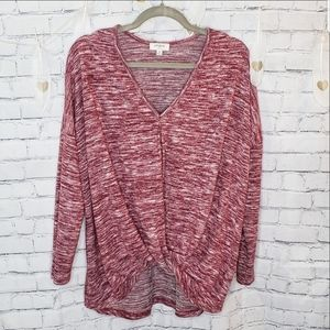 Umgee Maroon Marled Front Knot Top